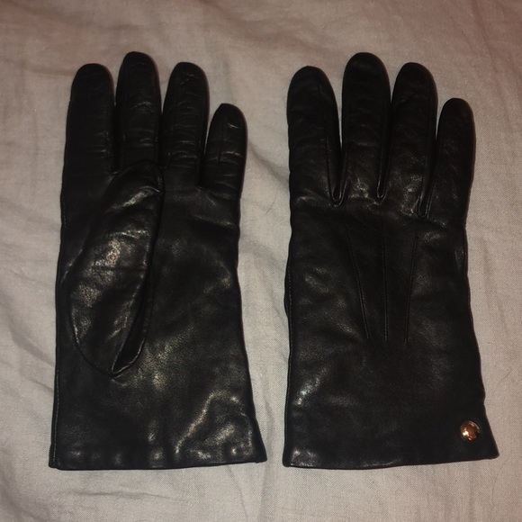 Coach Leather Gloves Merino Wool Lining 7.5